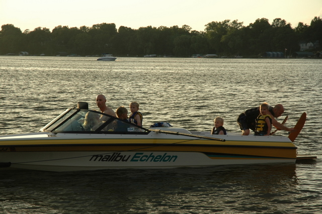 Thomas Rockwell getting ready to water ski on Lake Minnetonka